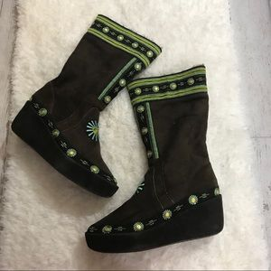Tory Burch Suede Embroidered platform boots